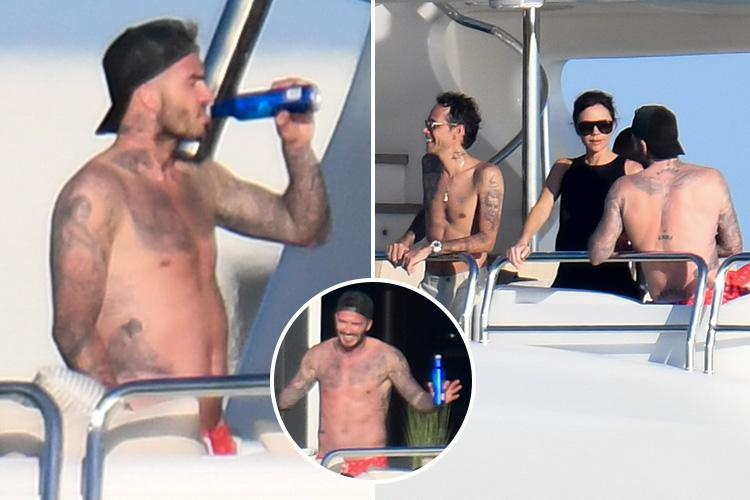 Topless David Beckham Drinks Beer As He Parties On Marc Anthony's Yacht photo