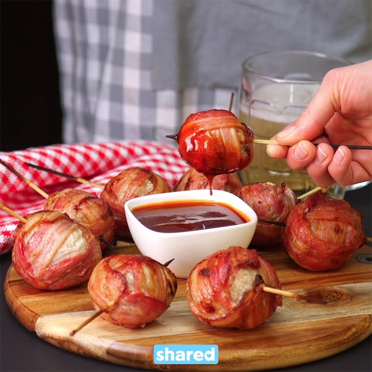 How to make stuffed onion bombs, wrapped in bacon! photo