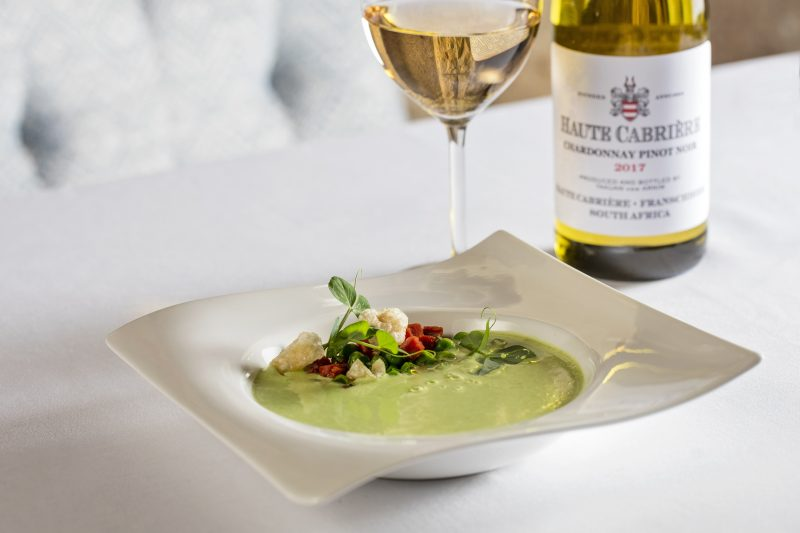 HC Cellar Restaurant pop up Pea soup with chorizo and pork puffs HR 1 e1527164348445 Haute Cabrière Shares Their Food And Wine Philosophy With Country Wide Pop Up Dinners