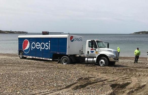 Pepsi Truck Gets Stuck On Gloucester Beach photo