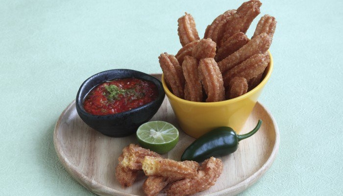 Party Snack Ideas: Cheesy Churros With A Spicy Salsa photo
