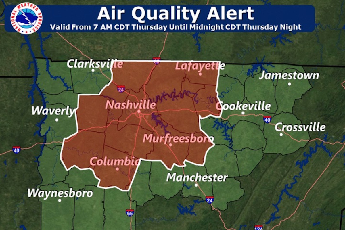 Air Quality Alert For Ozone Issued For Middle Tennessee photo