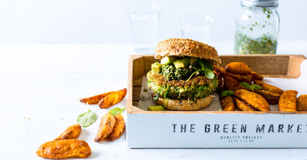 Green Vegan Burger With Chimichurri Pesto & Potato Wedges photo