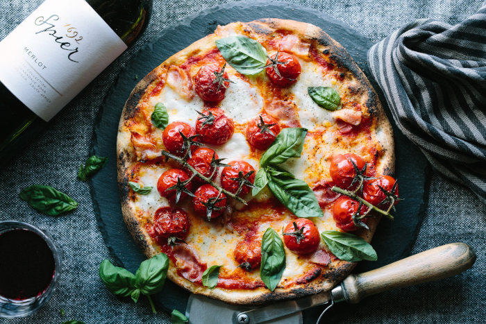Skip The Takeaways, Make Your Own Pizza With Roasted Tomatoes, Pancetta, & Basil [recipe] photo