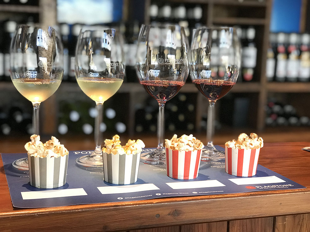 Experience A Popcorn And Wine Pairing With Flagstone And Their Pop Art Cart photo