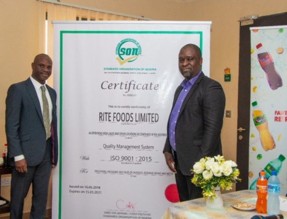 Rite Foods Attains Iso 9001 Certification As It Seeks Growth photo