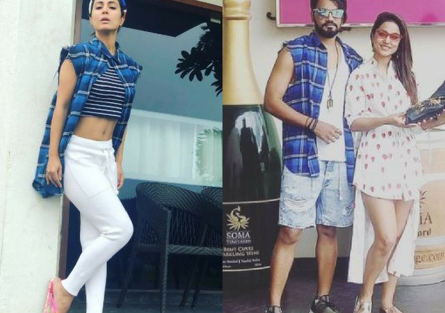 Hina Khan Shows Off Her Washboard Abs As She Poses In Beau Rocky Jaiswal's Shirt- See Photos photo