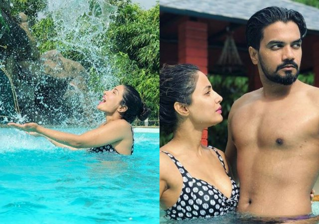Hina Khan Brings In The Weekend Early As She Splashes In The Pool With Boyfriend Rocky Jaiswal photo