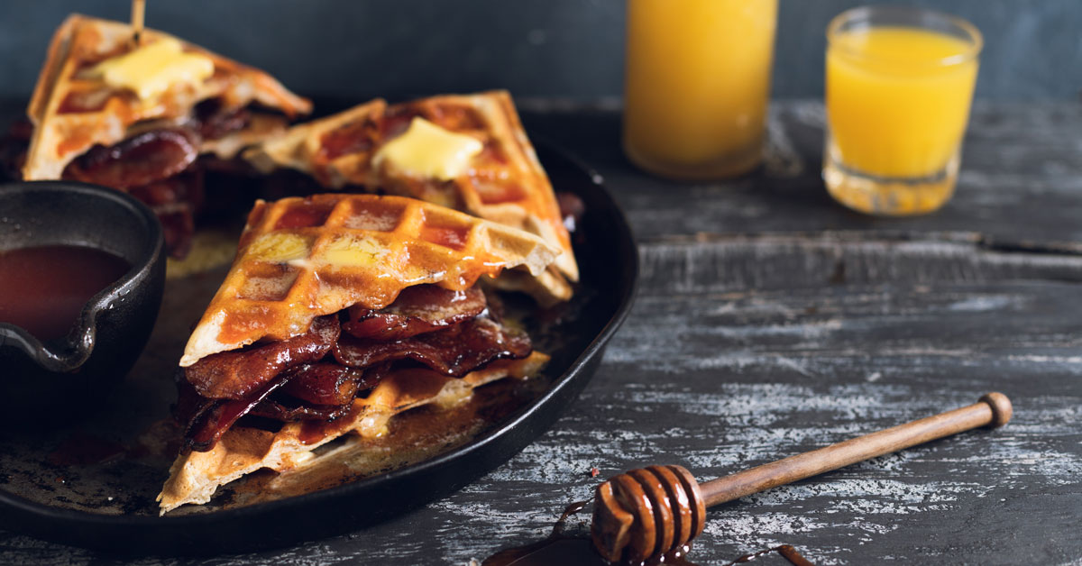 Hangover Waffle & Bacon Sarmies With Sriracha Honey Sauce photo