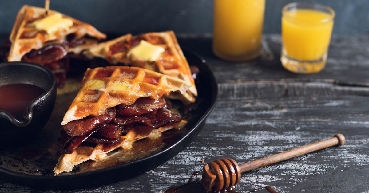 Hangover Waffle & Bacon Sarmies With Sriracha Honey Sauce photo