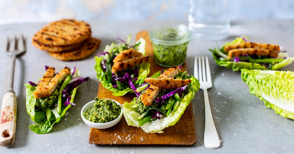 Veggie And Pesto Romaine Lettuce Cups photo