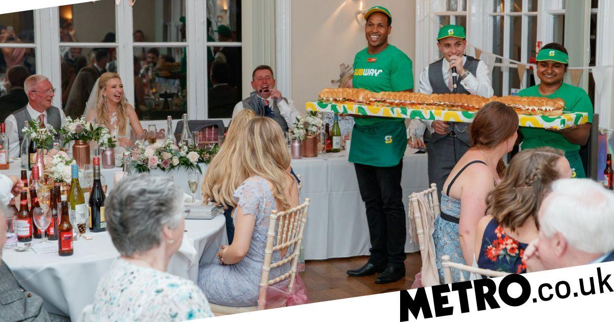 Groom Has 6ft Sub Delivered During Vows As An Ode To Couple's First Date photo