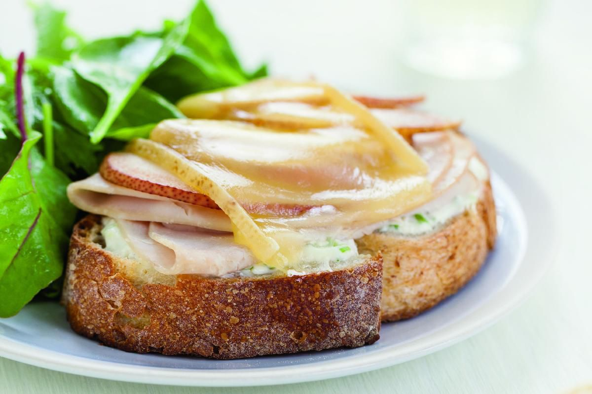 Update Your Grilled Cheese Sandwich With An Open-faced Turkey And Pear Version photo