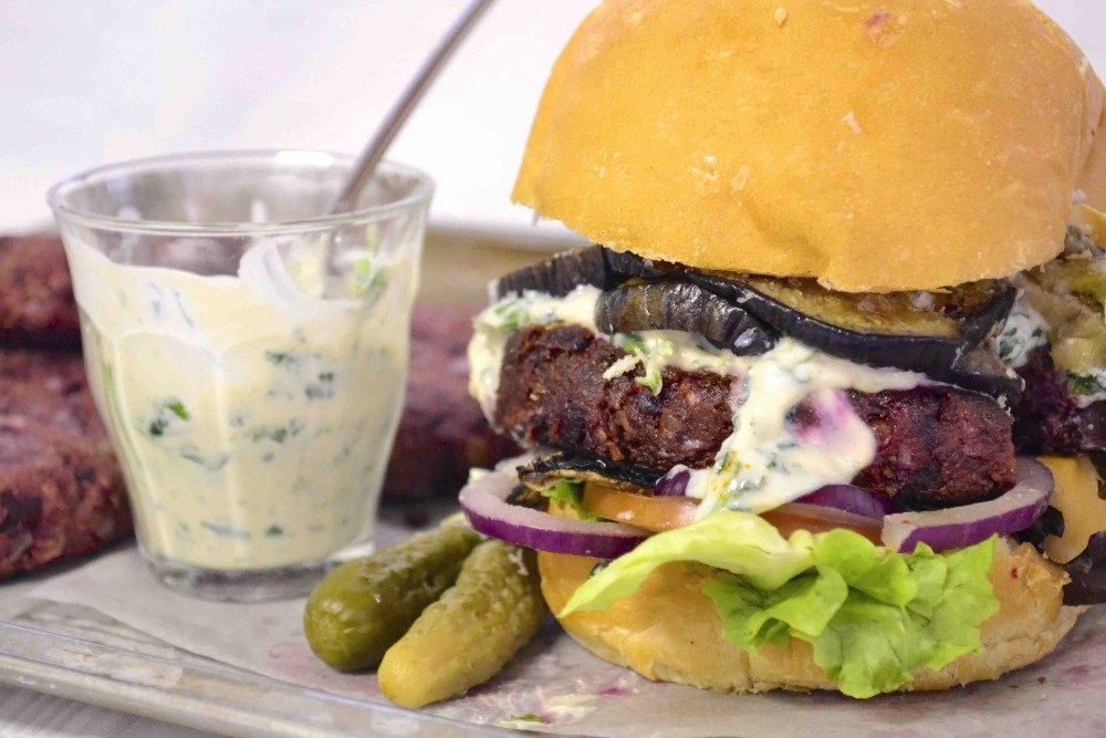 #greenmondaysa: Vegan Beetroot And Lentil Burger With Coriander Alioli photo