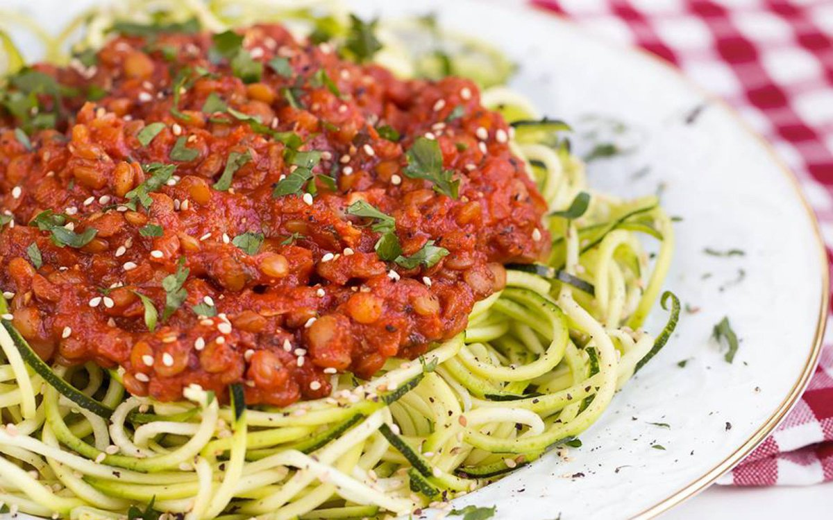 Zucchini Pasta With Spicy Tomato and Lentil Sauce photo