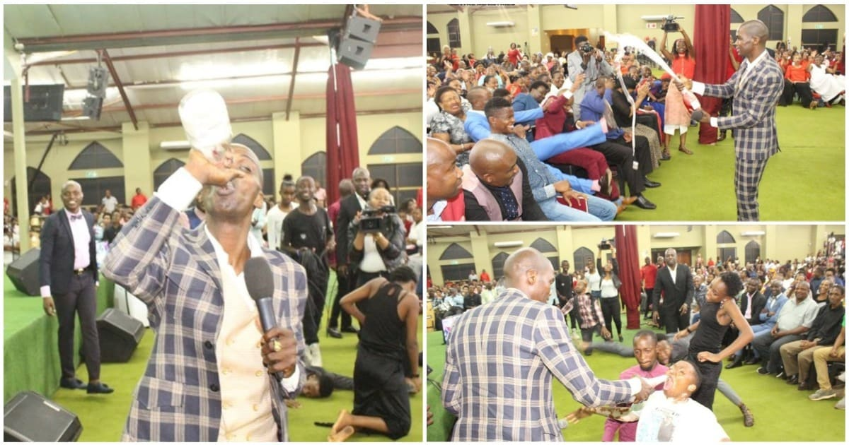 Snake Pastor Pulls Another Stunt As He Serves Congregants Champagne photo