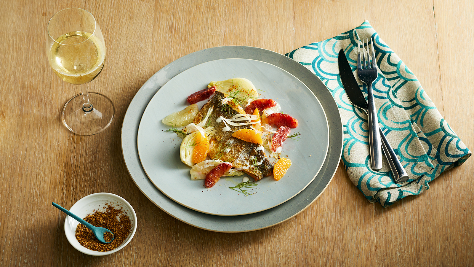 Perfect Match Recipe: Seared Branzino With Winter Citrus, Fennel & Yogurt photo