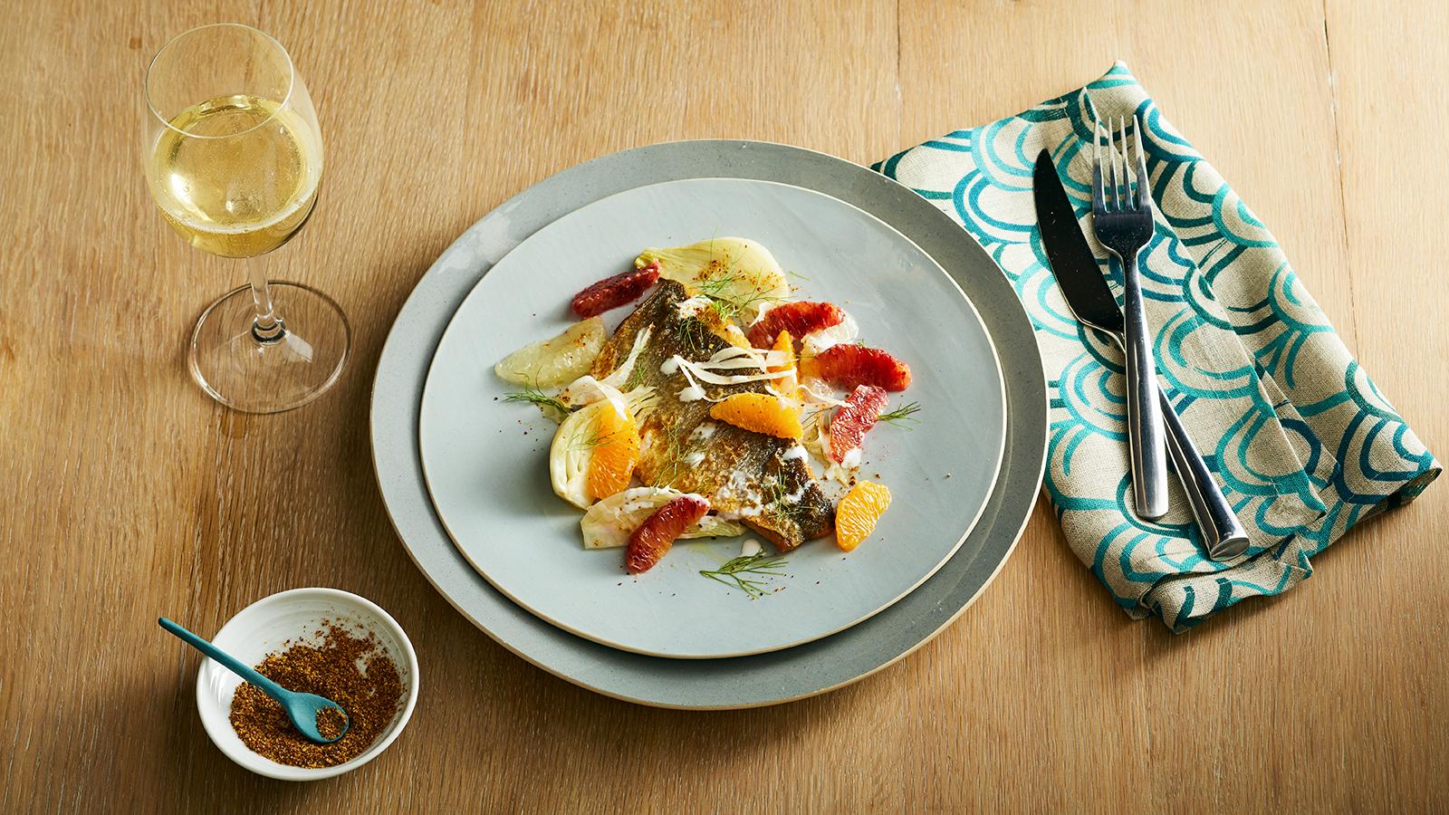 Perfect Match Recipe: Seared Branzino With Winter Citrus, Fennel & Yogurt photo