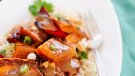 Recipe: Spicy Thai Peanut Sauce Over Roasted Sweet Potatoes And Rice photo