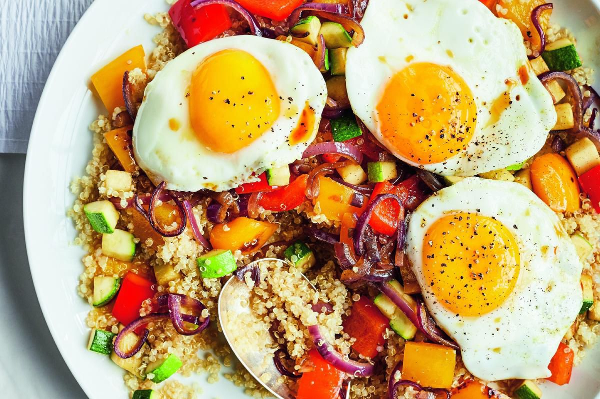 Sunny-side-up Eggs With Vegetables And Toasted Sesame photo