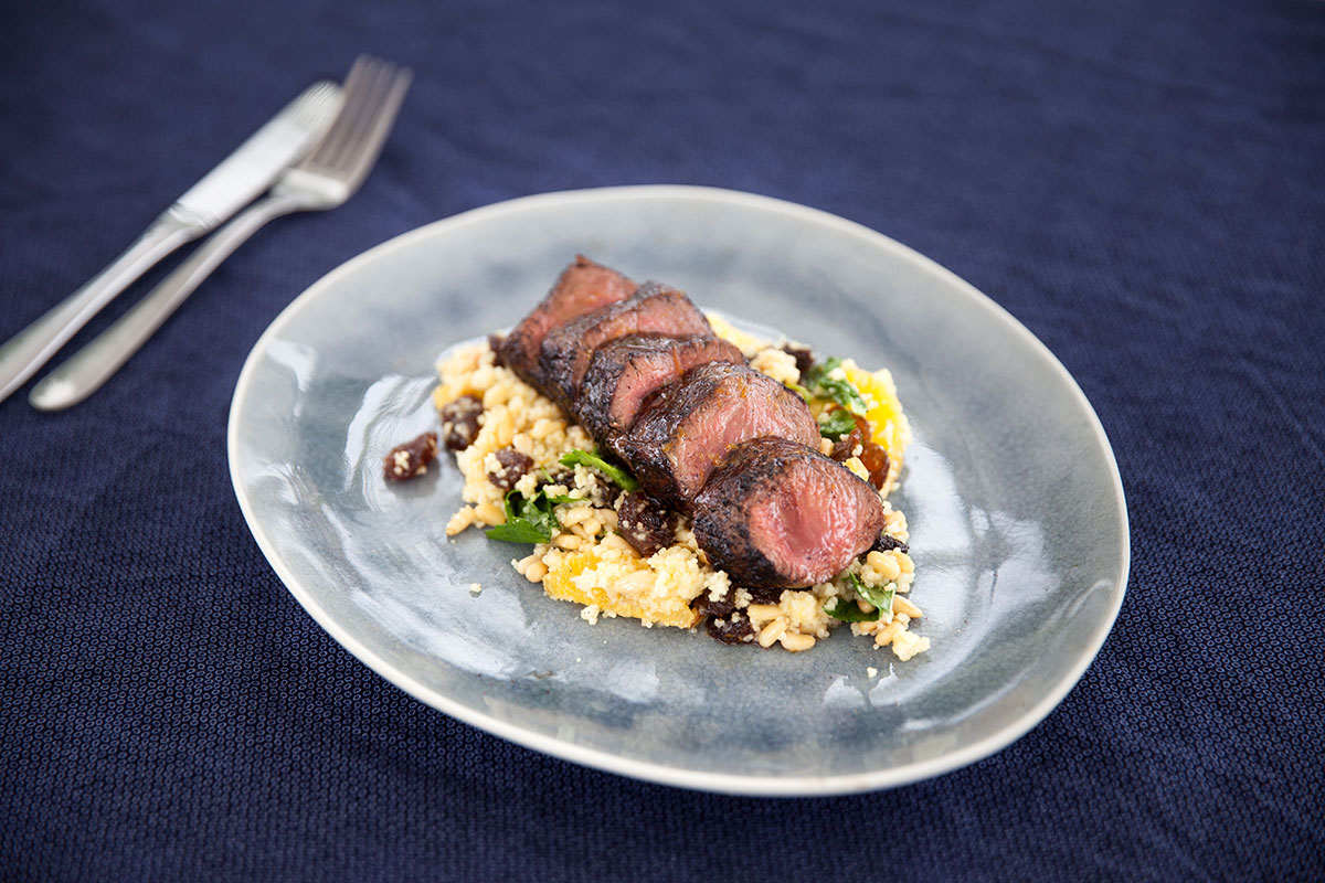 Seared Pepperberry Kangaroo With Couscous Salad photo