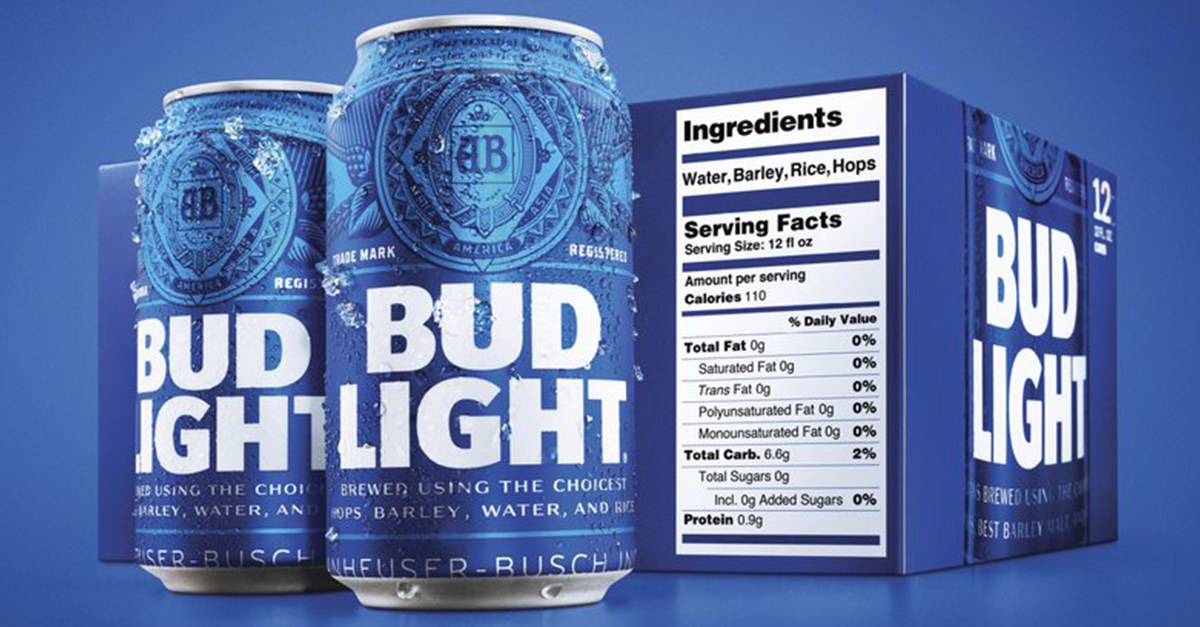 Bud Light Bulks Up Its Nutrition Labels photo