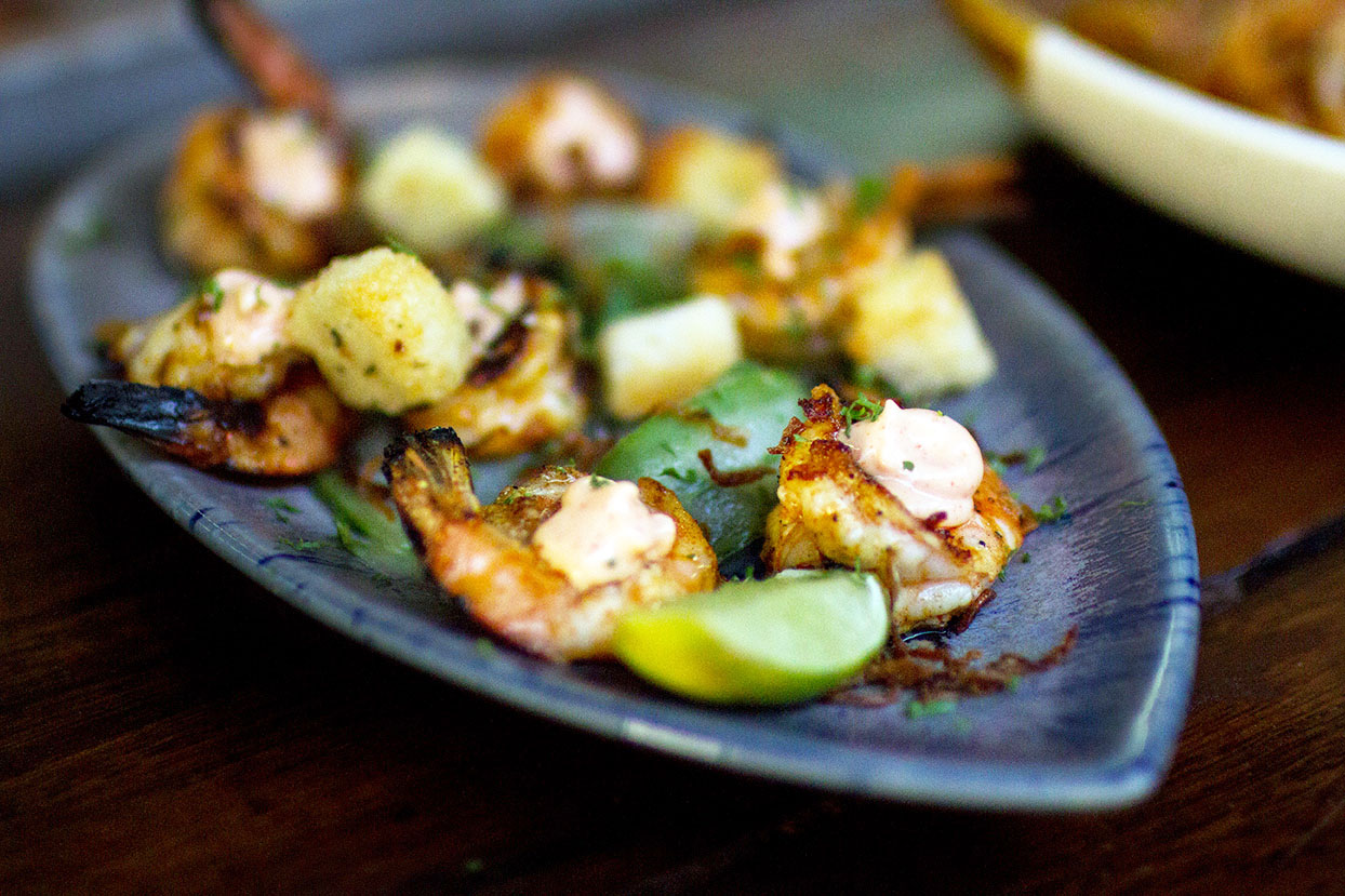 Chilli BBQ Prawns With Pickled Cucumber And Aioli photo