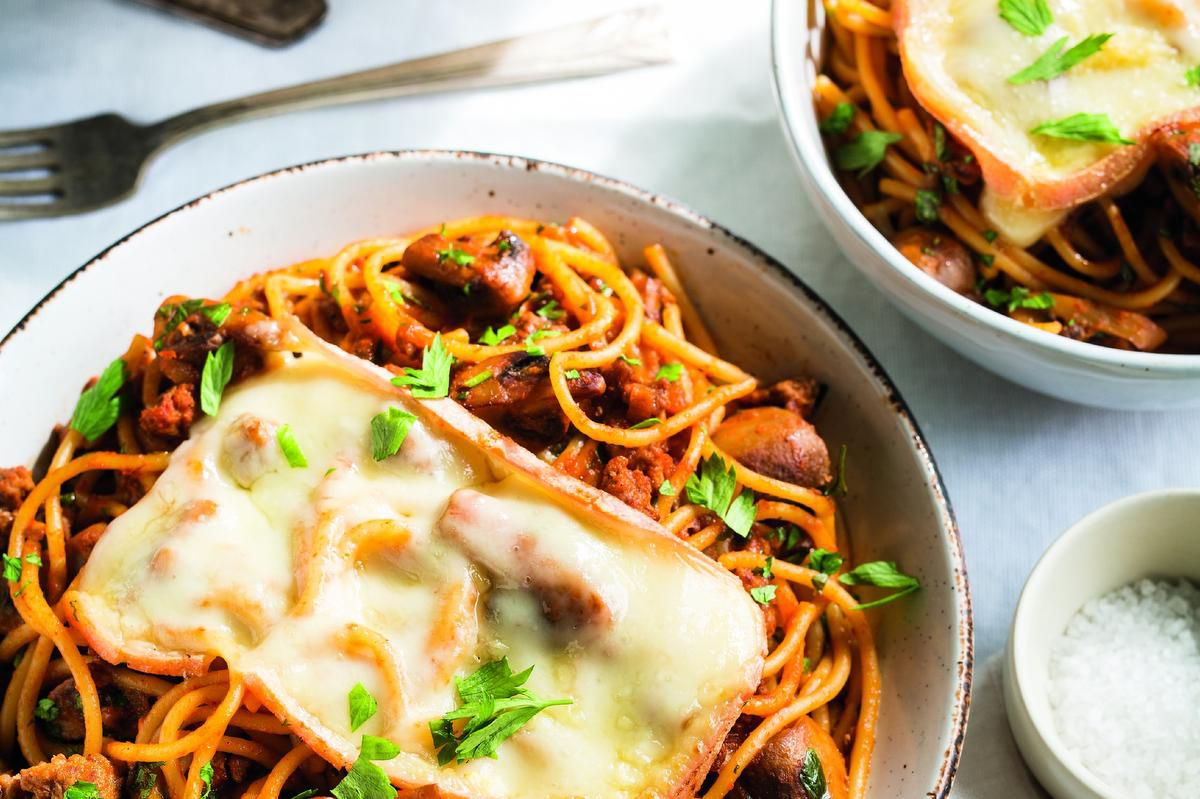 Just Say Yum To Spaghetti With Veal And Mushrooms Au Gratin photo