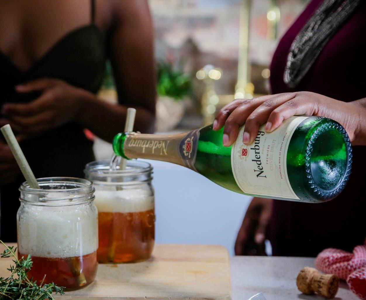 Ginger and Rooibos wine spritz with Nederburg Cuvee Brut LR Dig Into Deliciousness And Thrilling Stories With Nederburg And Zola Nene