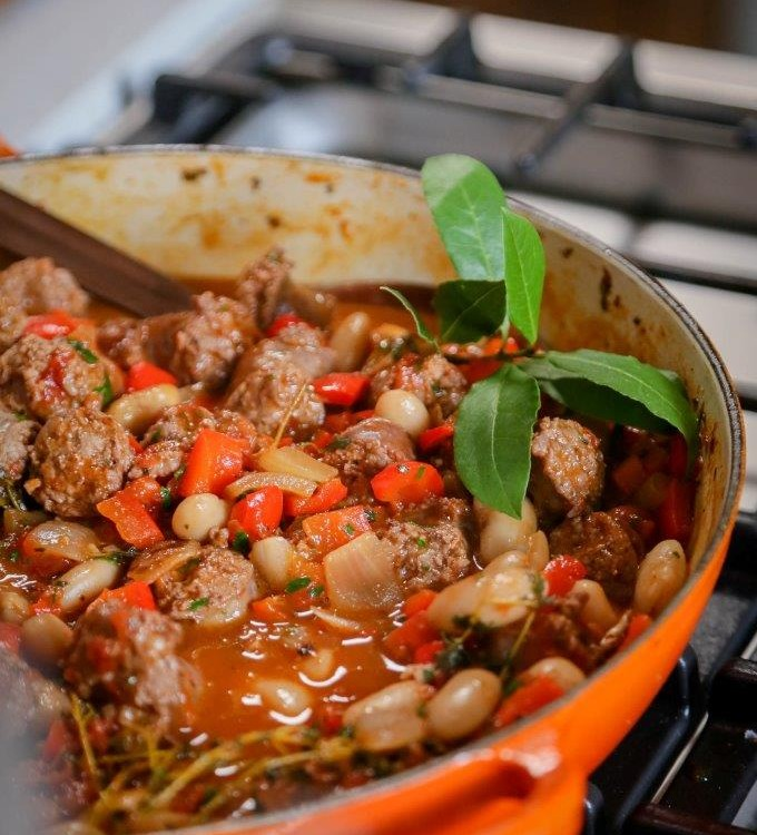 Sausage butterbean and red pepper casserole LR Dig Into Deliciousness And Thrilling Stories With Nederburg And Zola Nene