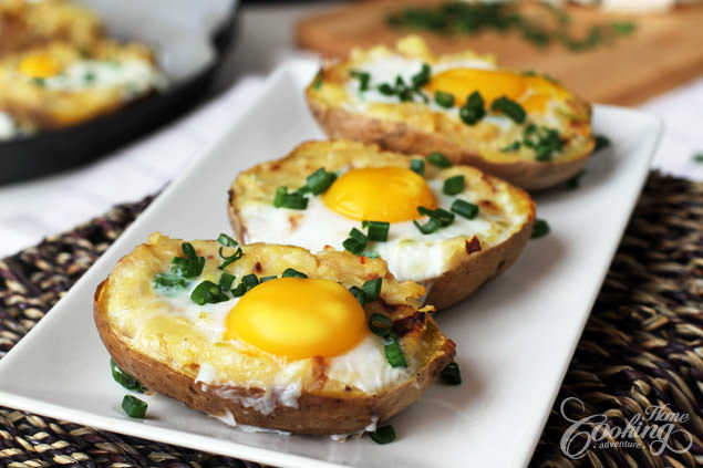 Twice-Baked Potato With Egg For Breakfast photo