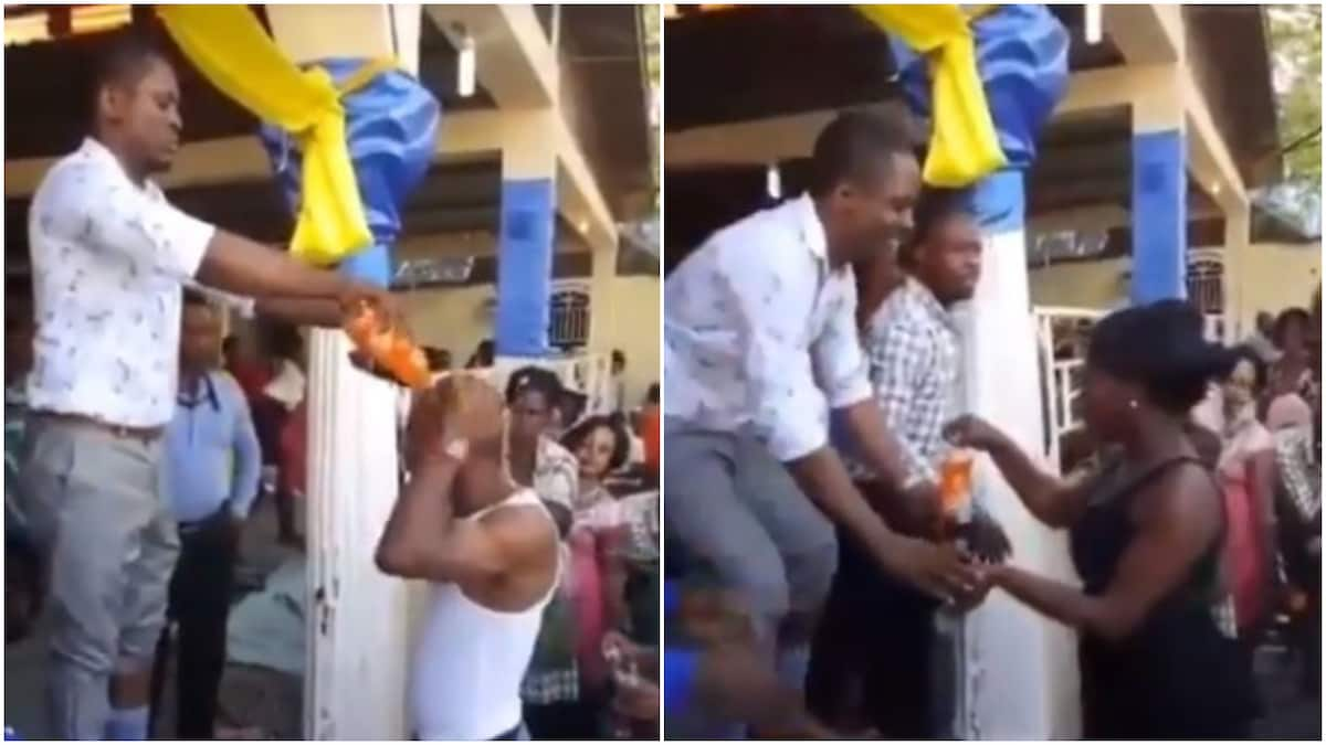 Internet Goes Berserk Over Viral Video Of Pastor Using Coke And Fanta To Anoint Church Members photo