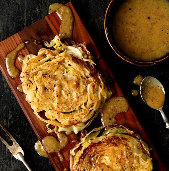 Vegan Cabbage Steaks With Mustard Vinaigrette photo