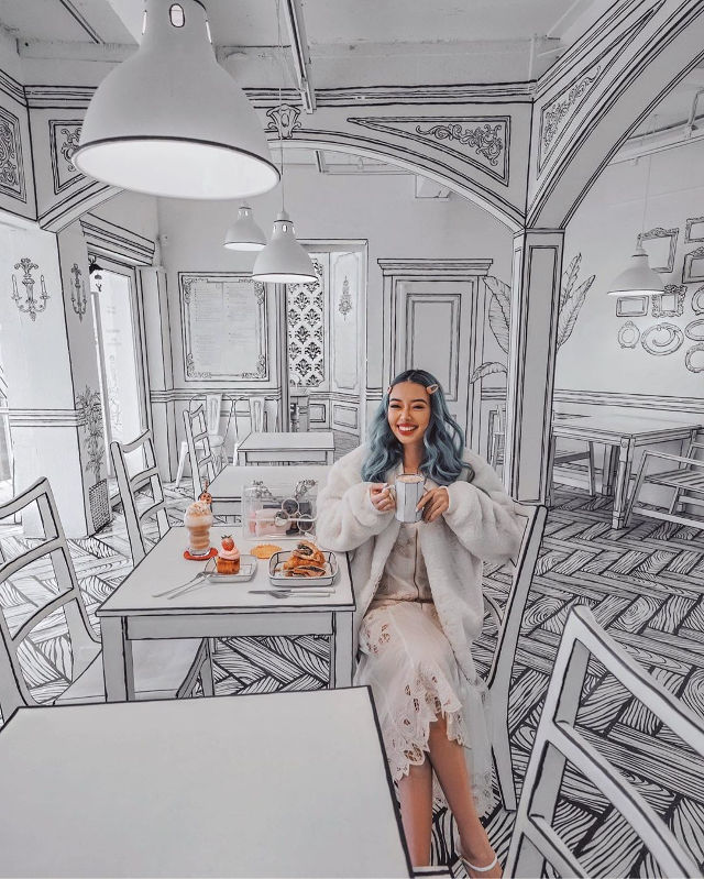 Korean Cafe Designed To Look Like A 2-D Black And White Pen Drawing photo