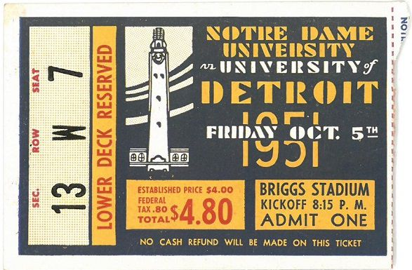 Remembering When Notre Dame Football Played At Detroit Mercy In 1951 photo