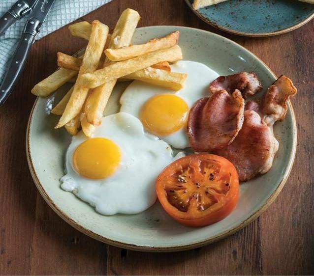 2 Eggs, 2 Bacon Strips, Toast and Tomato photo