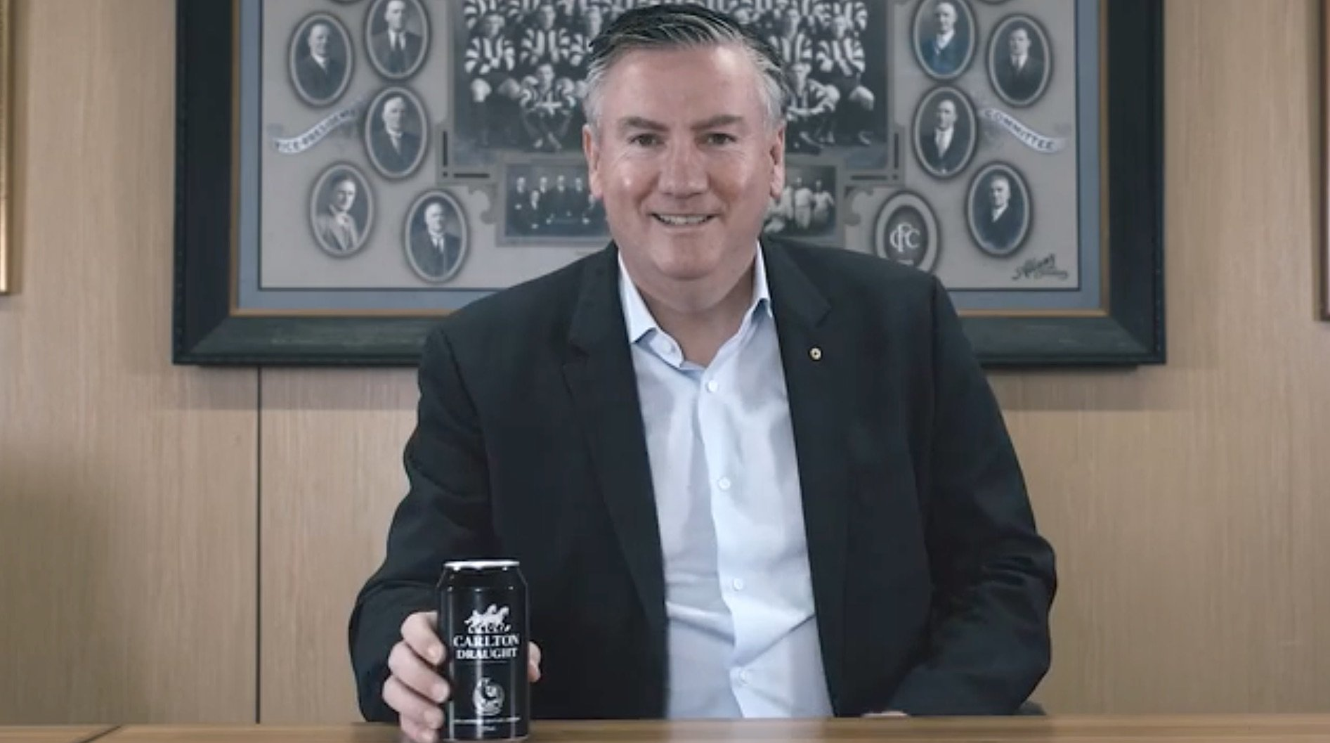 Carlton Draught Launches Range Of Collingwood Themed Cans Featuring Eddie Mcguire And Steele Sidebottom photo
