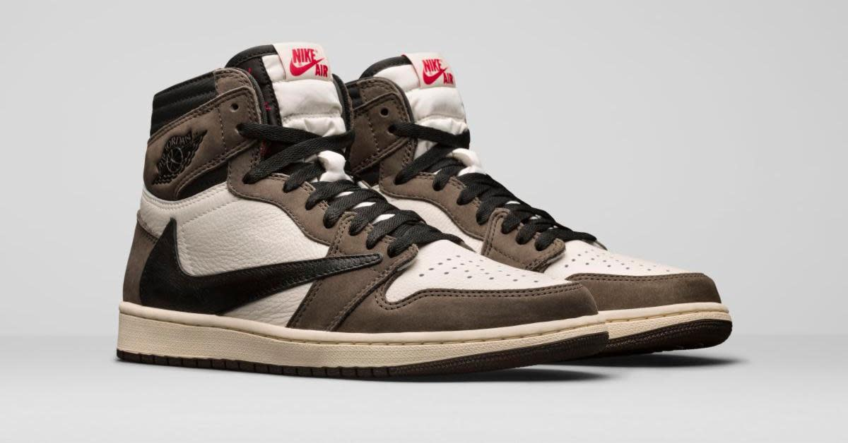 The Travis Scott Air Jordan 1 Rocks A 'reverse Swoosh' photo