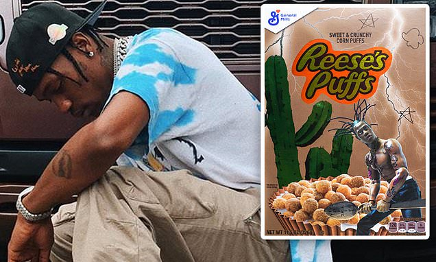 Travis Scott Unveils $50 Limited Edition Reese's Puffs Cereal Box photo