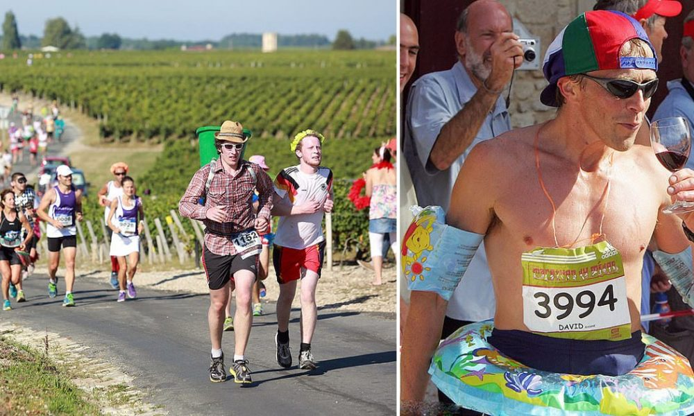 French Marathon Where Runners Drink Wine And Eat Cheese photo