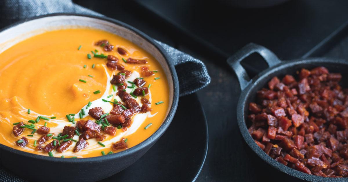 Cauliflower, Sweet Potato And Chorizo Soup photo