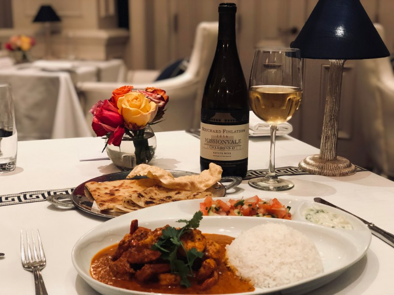 The Oyster Box Hotel's Chicken and Prawn Curry Perfectly Paired With Bouchard Finlayson Missionvale Chardonnay 2016 photo