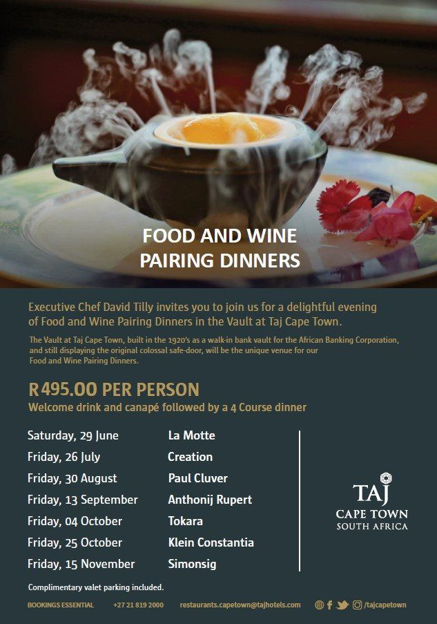 The Vault At Taj Cape Town Presents A Wine And Food Pairing Dinner photo