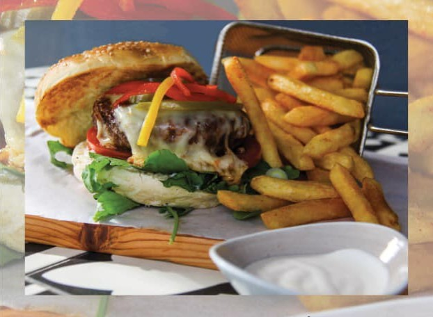 Half price burger and chips photo