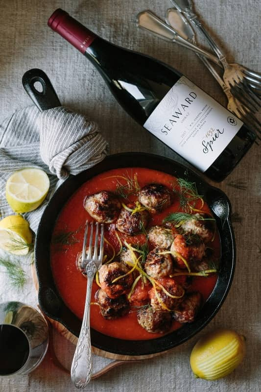 Meatballs With Spier's New Seaward Wine! photo