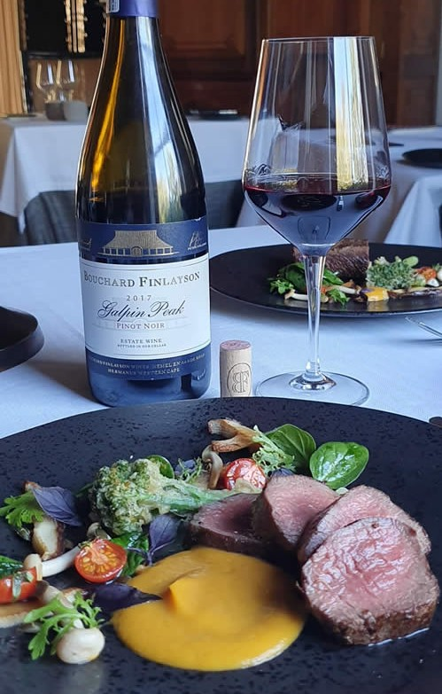 food and wine pairing Bushmans Kloof Springbok Loin with Bouchard Finlayson 2017 Galpin Peak Pinot Noir