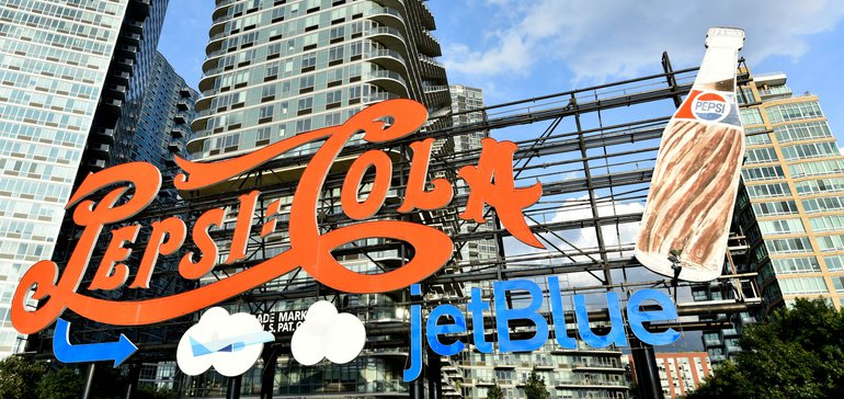 Jetblue Takes Off With Pepsico By Adding Airline's Logo To Landmark Sign In Nyc photo