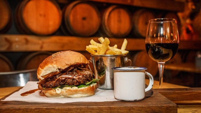 Burger or Salad with a Beer or Glass of wine photo