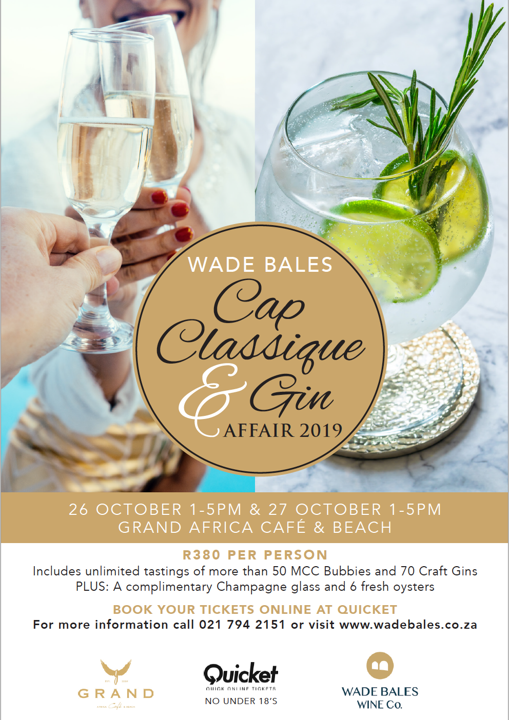 Let's meet at the beach and celebrate Summer in style at the Wade Bales Cap Classique and Gin Affair photo