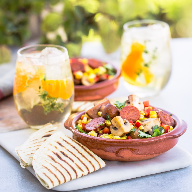 Chorizo Corn Portabellini Bowls  2 Scrumptious Mushroom Recipes Paired With Ice Cold Gin Drinks